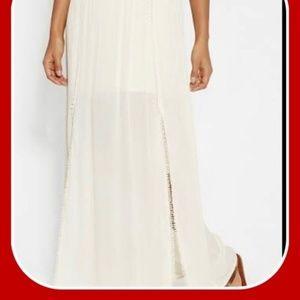 Maurices Gauzy Maxi Skirt Side Slits Boho Cream